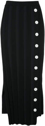 contrast button ribbed skirt