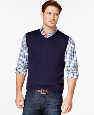 Cutter & Buck Men's Big and Tall Douglas V-Neck Sweater Vest $90 thestylecure.com