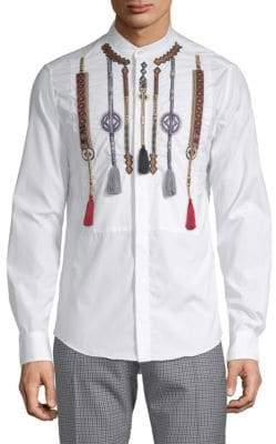 Valentino Camicie Cotton Embellished Button-Down Shirt