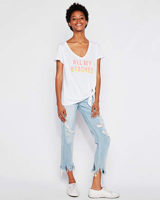 Express All My Beaches Tie Front Slim Tee