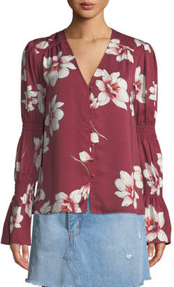Cupcakes And Cashmere Christa Floral-Print Button-Down Top