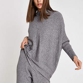 River Island Grey rib knit high neck long sleeve sweater
