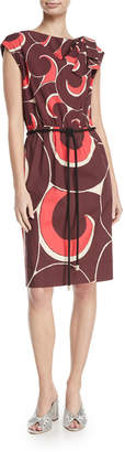 Marc Jacobs Cap-Sleeve Drawstring Abstract-Print Dress