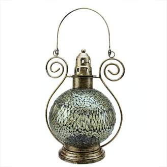 "clear Northlight 12"" Decorative Smoke Mosaic Glass Tea Light Candle Holder Lantern"