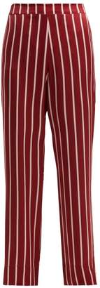 Asceno - Striped Silk Pyjama Trousers - Womens - Burgundy Stripe