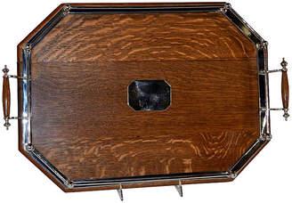 One Kings Lane Vintage English Oak Gallery Tray - c. 1900 - Black Sheep Antiques