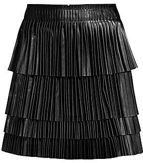 Alexis Women's Briana Leather Pleated Tiered Skirt