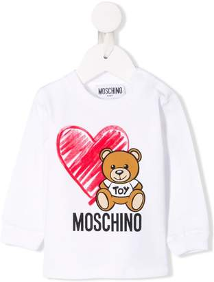 Moschino Kids heart and teddy print sweater