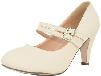 d01aca486 Chase & Chloe Kimmy-61 Women's Mary Jane Double Strap Buckle Pump ...