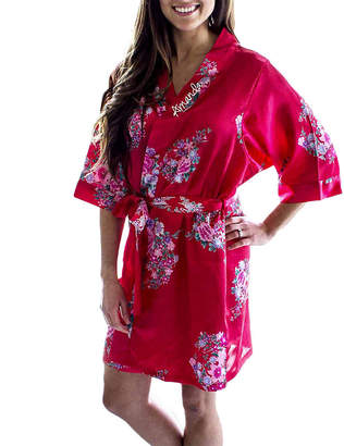 Cathy's Concepts CATHYS CONCEPTS Personalized Floral Satin Womens Satin Kimono Robes