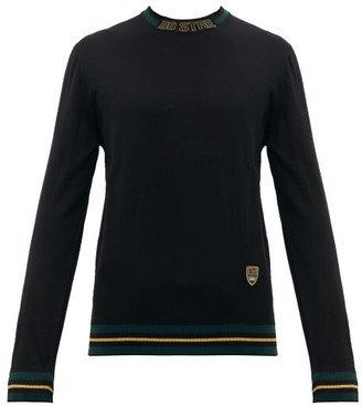 Dolce & Gabbana Striped Trim Crest Embroidered Wool Blend Sweater - Mens - Black