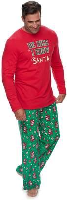"Big & Tall Jammies For Your Families ""Be Nice I Know Santa"" Top & Santa Microfleece Bottoms Pajama Set"