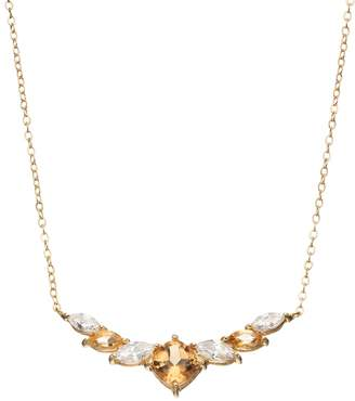 Kohl's 14k Gold Over Silver Citrine & Cubic Zirconia Statement Necklace