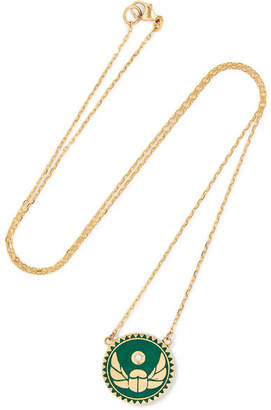 Foundrae - Protection 18-karat Gold, Diamond And Enamel Necklace