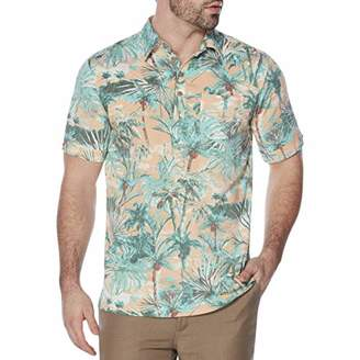 Cubavera Men's Short Sleeve Rayon-Stretch Tropical-Print Polo Shirt