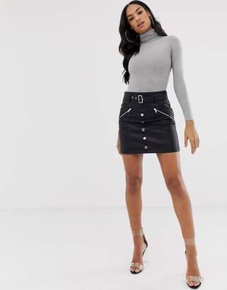 Asos DESIGN leather look mini skirt with pockets zips and poppers