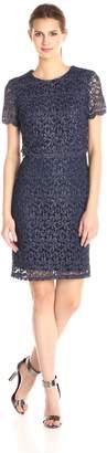 Marina Women's Short Pop Over Pretzel Lace Dress with Sleeves Center Back Zipper and Back Buttons