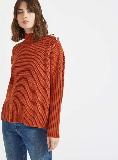 Rust button neck knitted jumper