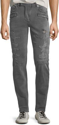 Balmain Men's Gray-Wash Distressed Skinny Jeans