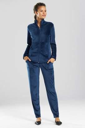 Natori N Velour Zip-Up Jacket