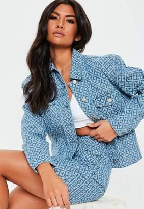 Missguided Blue Geometric Print Cropped Boxy Denim Co Ord Jacket, Blue