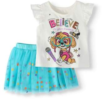 Paw Patrol Toddler Girl T-Shirt & Scooter Skirt, 2Pc Outfit Set