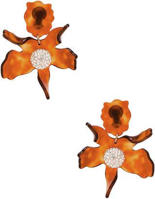 Lele Sadoughi Crystal Lily Earrings in Caramel | FWRD