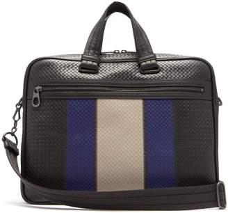 Bottega Veneta Striped Intrecciato Leather Briefcase - Mens - Black Multi