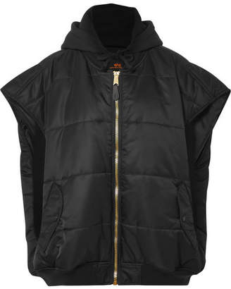Vetements Oversized Hooded Quilted Shell And Jersey Gilet - Black