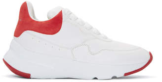 Alexander McQueen White and Red Platform Running Sneakers