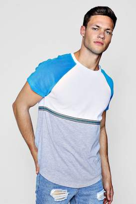 boohoo Colour Block Velour T-Shirt With Taping
