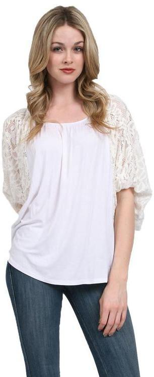 VAVA by Joy Han - Skyler Lace Sleeve Top in White