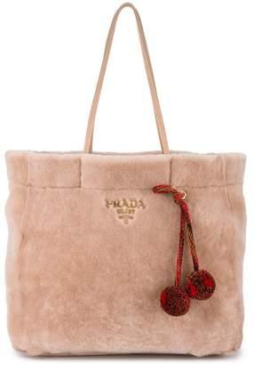Prada Pink shopper shearling tote bag