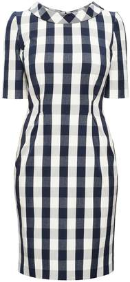 Rumour London - Juliette Navy Stretch Cotton Gingham Dress with Raised Collar