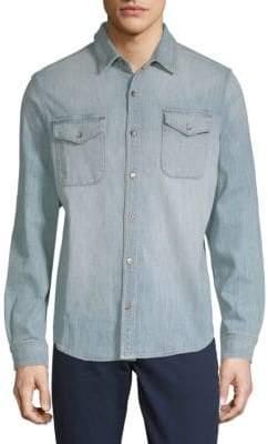 Woven Denim Button-Down Shirt