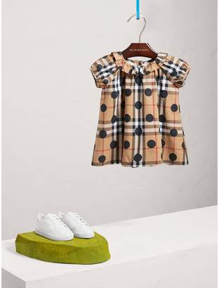 Burberry Ruffle Detail Polka-dot Check Cotton Dress