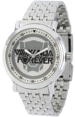 Marvel Marvel's Black Panther Men's' Silver Alloy Vintage Watch, Silver Stainless Steel Bracelet
