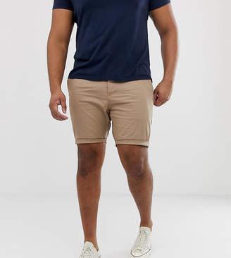 Asos Design PLUS Skinny Chino Shorts In Stone