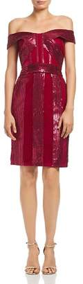 Tadashi Petites Off-the-Shoulder Sequin & Velvet Dress
