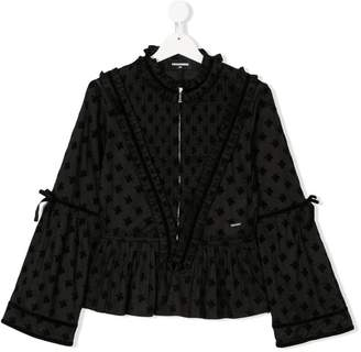 DSQUARED2 TEEN jacquard zip front blouse