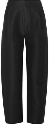 Lombardy Cotton And Silk-blend Tapered Pants - Black