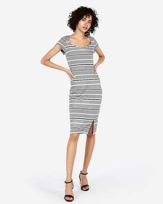 Express Petite Striped Puff Shoulder Sweetheart Sheath Dress