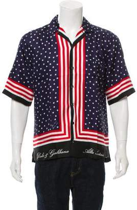 Dolce & Gabbana Silk American Flag Print Shirt