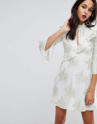 Miss Selfridge Tiered Metallic Printed Shift Dress