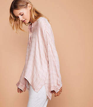 Lou & Grey Blush Plaid Henley Shirt