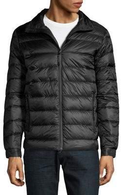 Black & Brown Black Brown Horizontal-Quilt Down Puffer Jacket