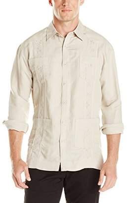 Cubavera Men's Long Sleeve Embroidered Guayabera Shirt
