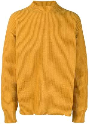 MSGM ribbed notch hem sweater