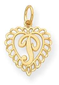 Black Bow Jewelry Company 14k Yellow Gold, Grace Collection, Satin Heart Initial P Pendant, 15mm