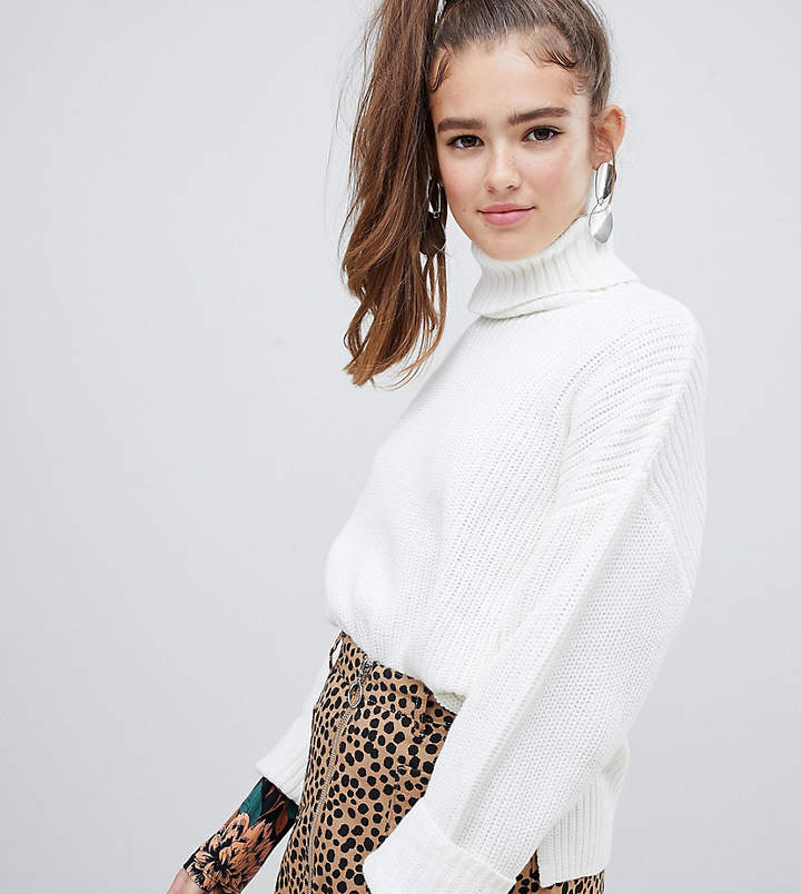 Monki roll neck ribbed jumper in off white